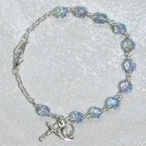 """7 1/2"""" Blue Glass Bracelet"""