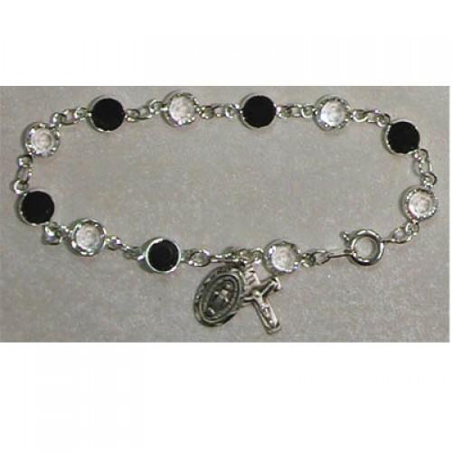 """7 1/2"""" Black&Crystal Bracelet"""