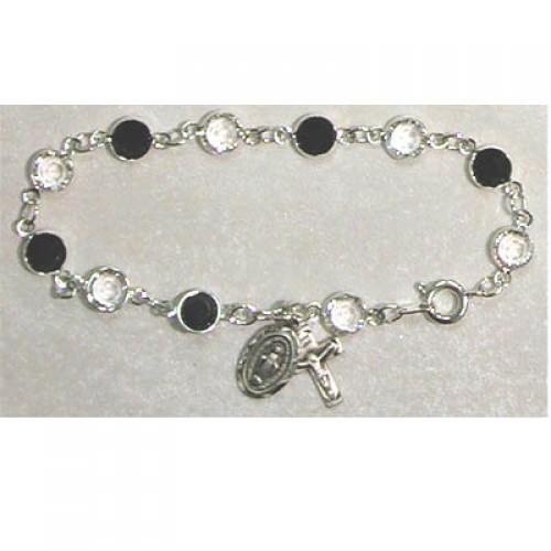 Sterling Silver Adult Jet/Crystal Bracelet