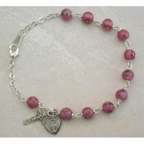"7 1/2"" Pink Venetian Bracelet"