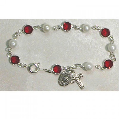 "7 1/2"" Red/Pearl Bracelet"