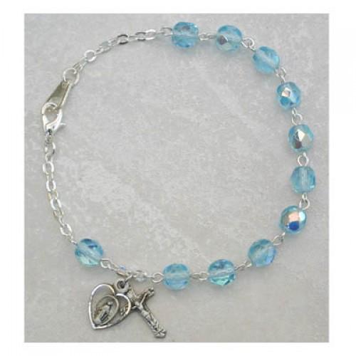 Sterling Silver Adult Aqua/March Bracelet