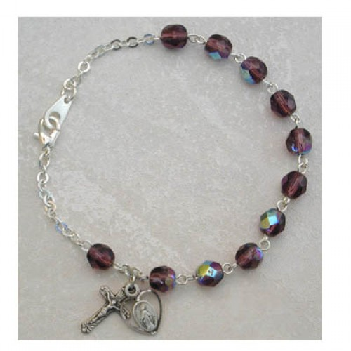 Sterling Silver Adult Dark Amethyst/Feb Bracelet