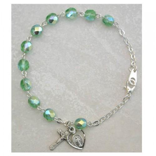 Sterling Silver Adult Peridot/Aug Bracelet