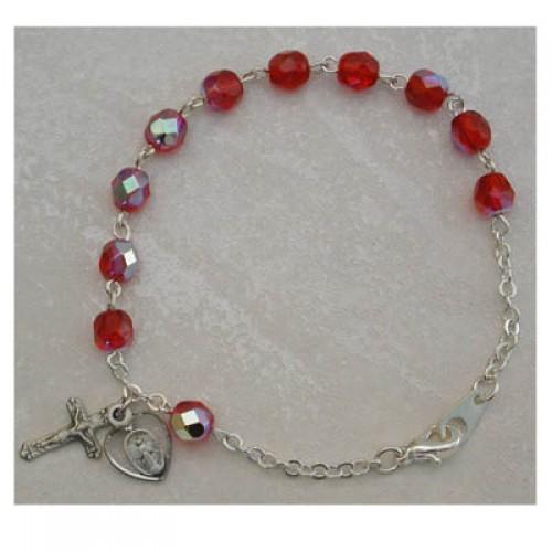 Sterling Silver Adult Ruby/July Bracelet