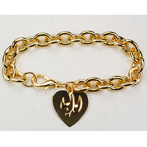"7 1/2"" Gold-plated Heart & Dove Bracele"