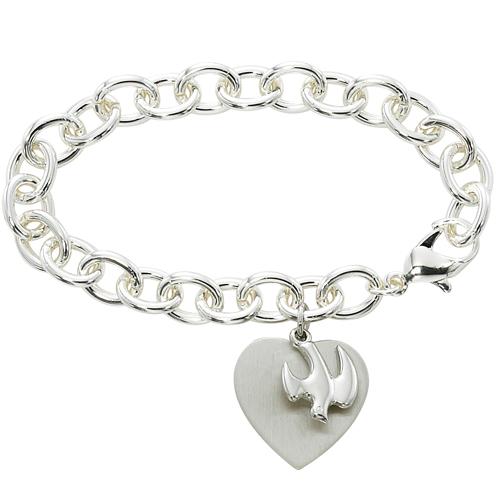 """7 1/2"""" Heart & Dove Bracelet"""