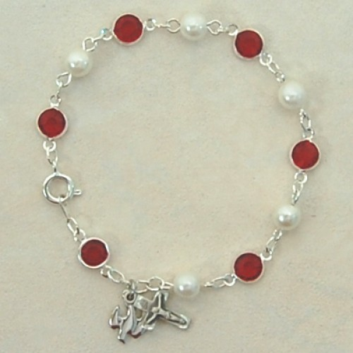"7 1/2"" Sterling Silver Red/Pearl Holy Spirt"