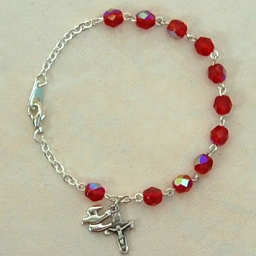 "7 1/2"" Sterling Silver Red Holy Spirit Brac"