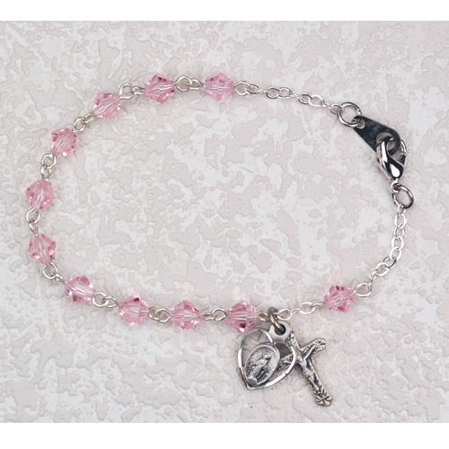 "5MM 6 1/2"" Pink Crystal Bracelet"