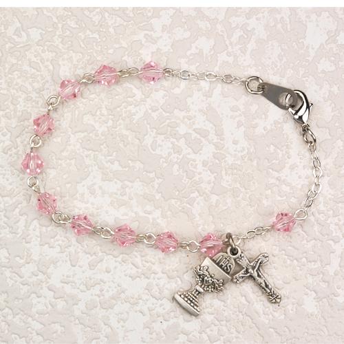 """Sterling Silver 5MM 6 1/2"""" Pink Crystal Bracelet"""