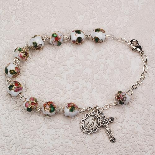 """7 1/2"""" White Cloisonne Bracelet"""
