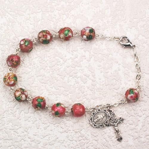 """7 1/2"""" Pink Cloisonne Bracelet"""