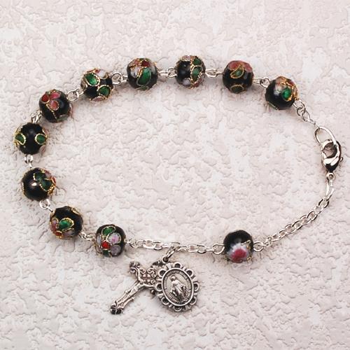 "7 1/2"" Black Cloisonne Bracelet"
