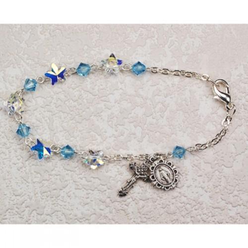 """Sterling Silver 7 1/2"""" Aqua Swarvs Bracelet"""""""