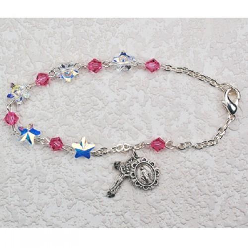 """Sterling Silver 7 1/2"""" Pink Swarvs Bracelet"""""""