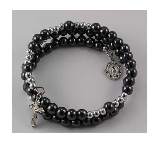 Sterling Silver 6MM Hematite Wrap Bracelet