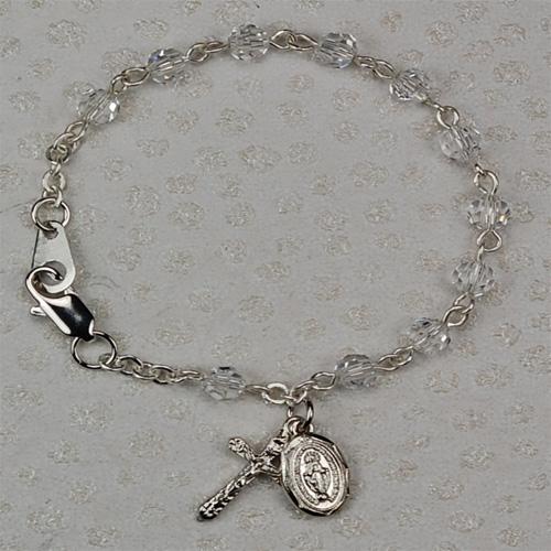 "Sterling Silver 5 1/2""Crystal Baby Bracelet"