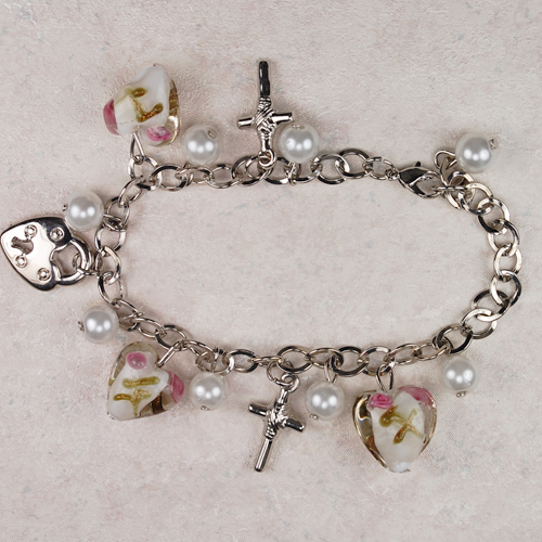 White/Pink Charm Bracelet/Card