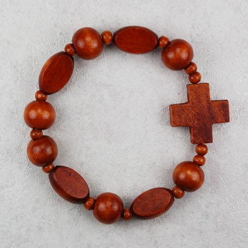 Brown Wood Stretch Bracelet