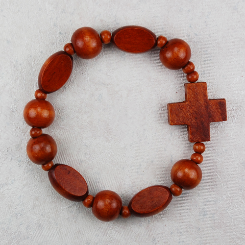 Brown Wood Stretch Bracelet