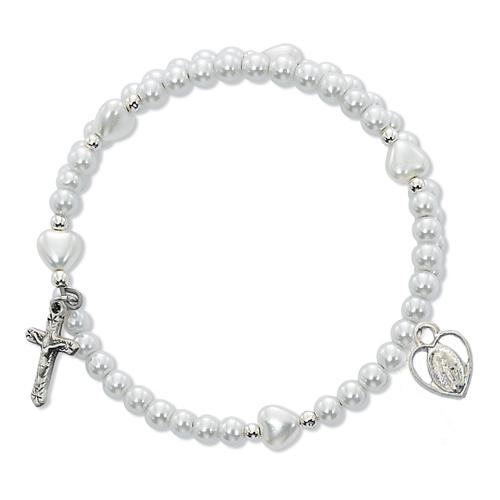 """6 1/2"""" White Pearl Wrap Bracelet"""