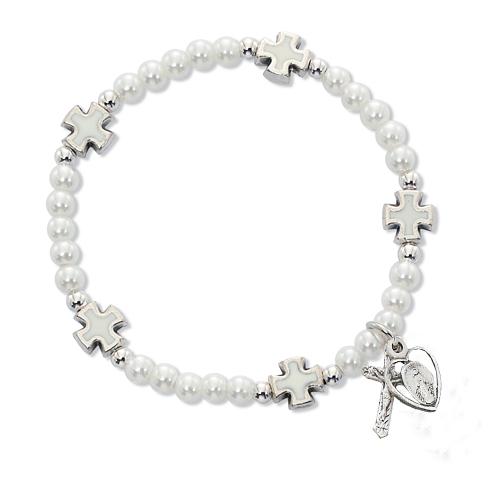 White Pearl/Cross Stretch Bracelet