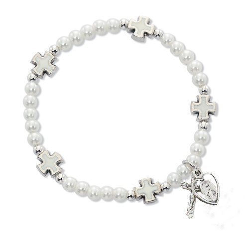 White Pearl/Cross Stretch Bracelet