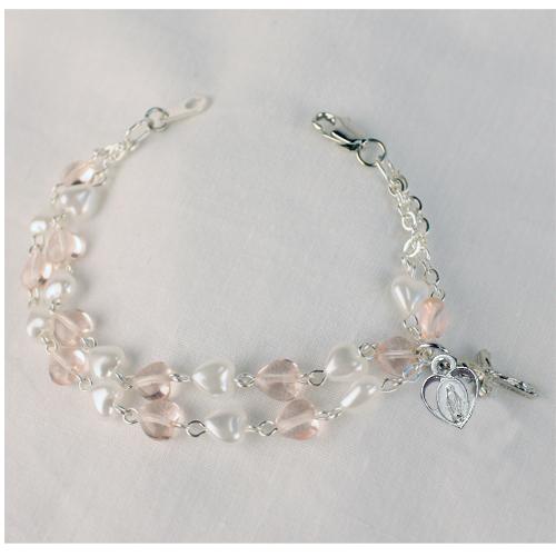 "6 1/2"" Pink & White Bracelet"