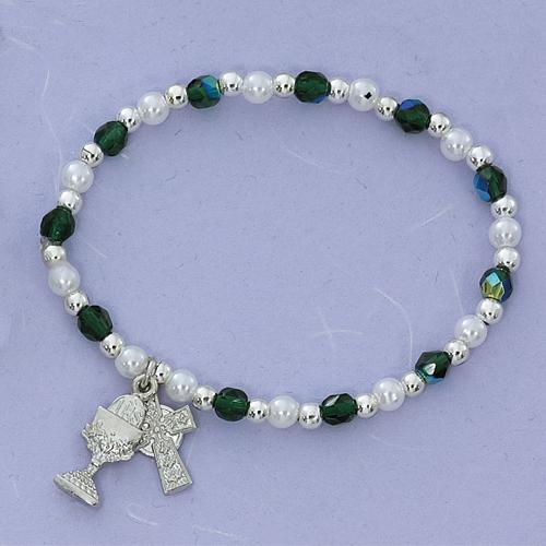 Green/Pearl Stretch Bracelet