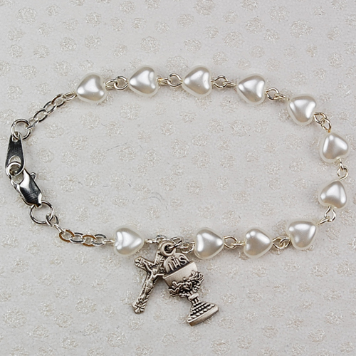 "Sterling Silver 6 1/2"" White Heart Bracelet"