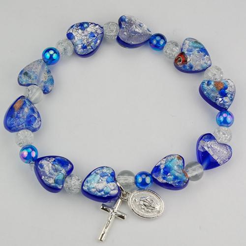 Blue Murano Heart Bracelet