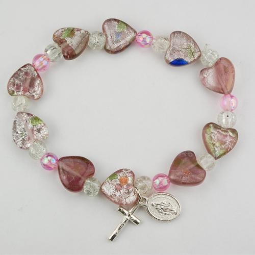 Pink Murano Heart Bracelet