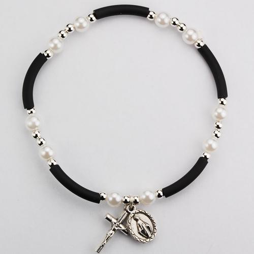 Black & Pearl Rubber Bracelet