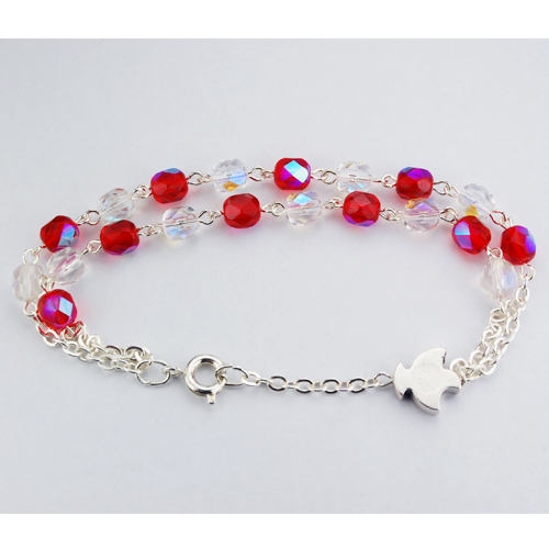 Red & Crystal Double Bracelet