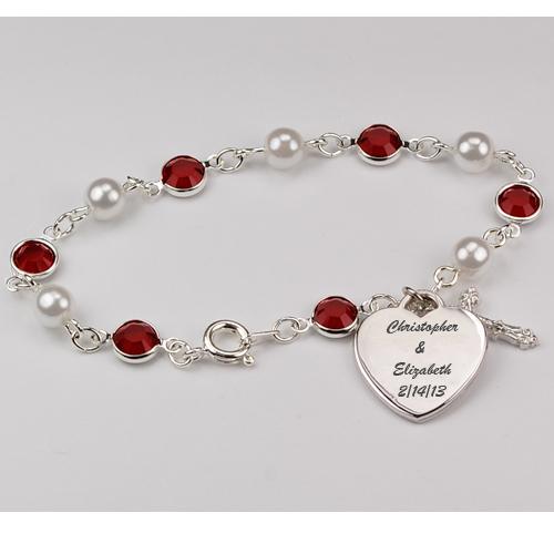"""7 1/2"""" Pearl & Ruby Bracelet"""