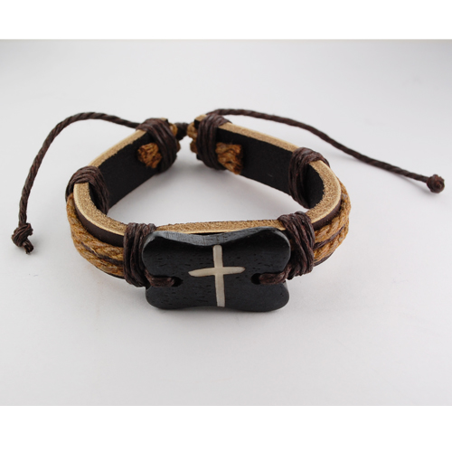 Leather Bracelet with  Brown Cros