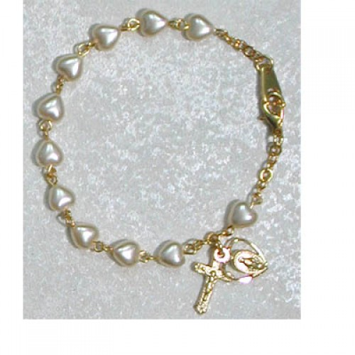 "Gold over Silver 6 1/2"" Pearl Heart Braclt"