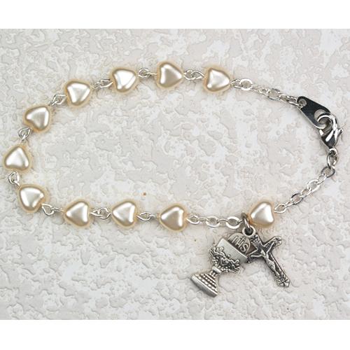 """Sterling Silver 6 1/2"""" Pearl Heart Bracelet"""
