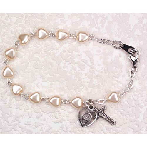 Sterling Silver Youth Pearl Heart Bracelet