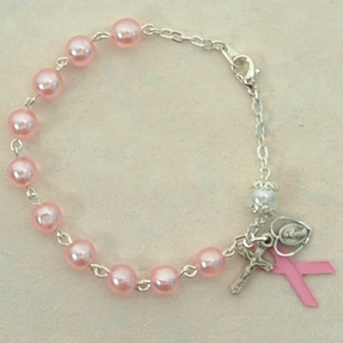"7 1/2"" Pewter Pink Cancer Rosary"