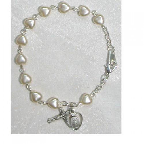 """6 1/2"""" Pearl Heart Bracelet"""