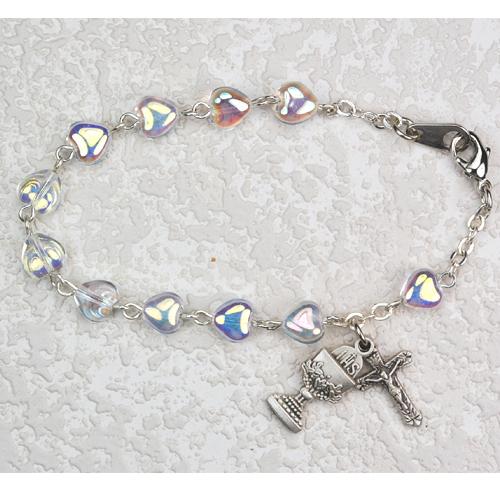 """Sterling Silver 6 1/2"""" Crystal Heart Bracel"""