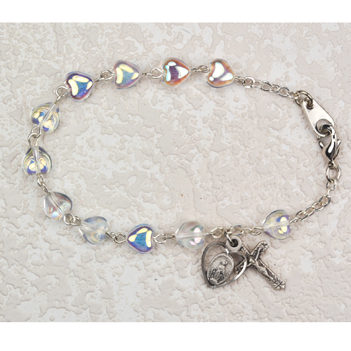 "Sterling Silver 6 1/2"" Crystal Heart Bracel"