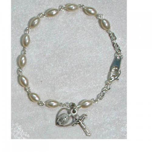 """Sterling Silver 6 1/2"""" Oval Pearl Bracelet"""