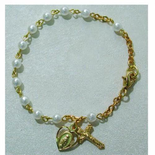 "Gold over Silver 6 1/2"" 3MM Pearl Bracelet"