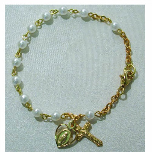 "Gold over Silver 6 1/2"" 3MM Pearl Bracelet"
