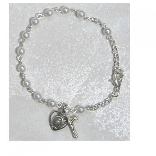 Sterling Silver Youth Silver Pearl Bracelet