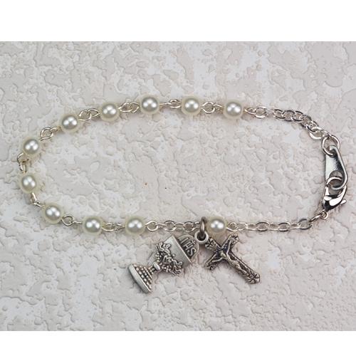 """Sterling Silver 6 1/2"""" 3MM Pearl Bracelet"""