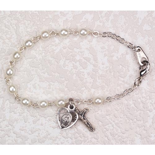 """Sterling Silver 6 1/2"""" Pearl Bracelet"""